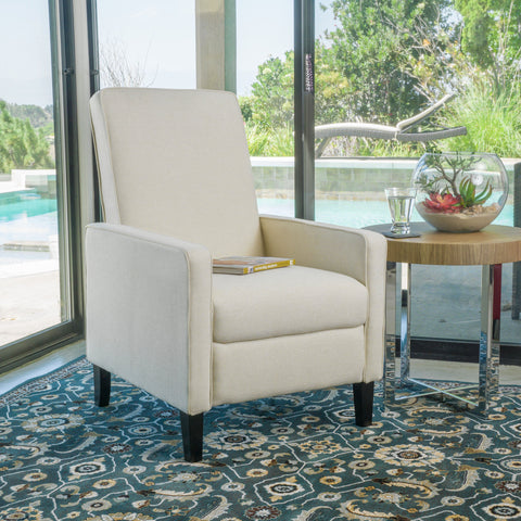 Olinda Contemporary Beige Fabric Recliner Chair