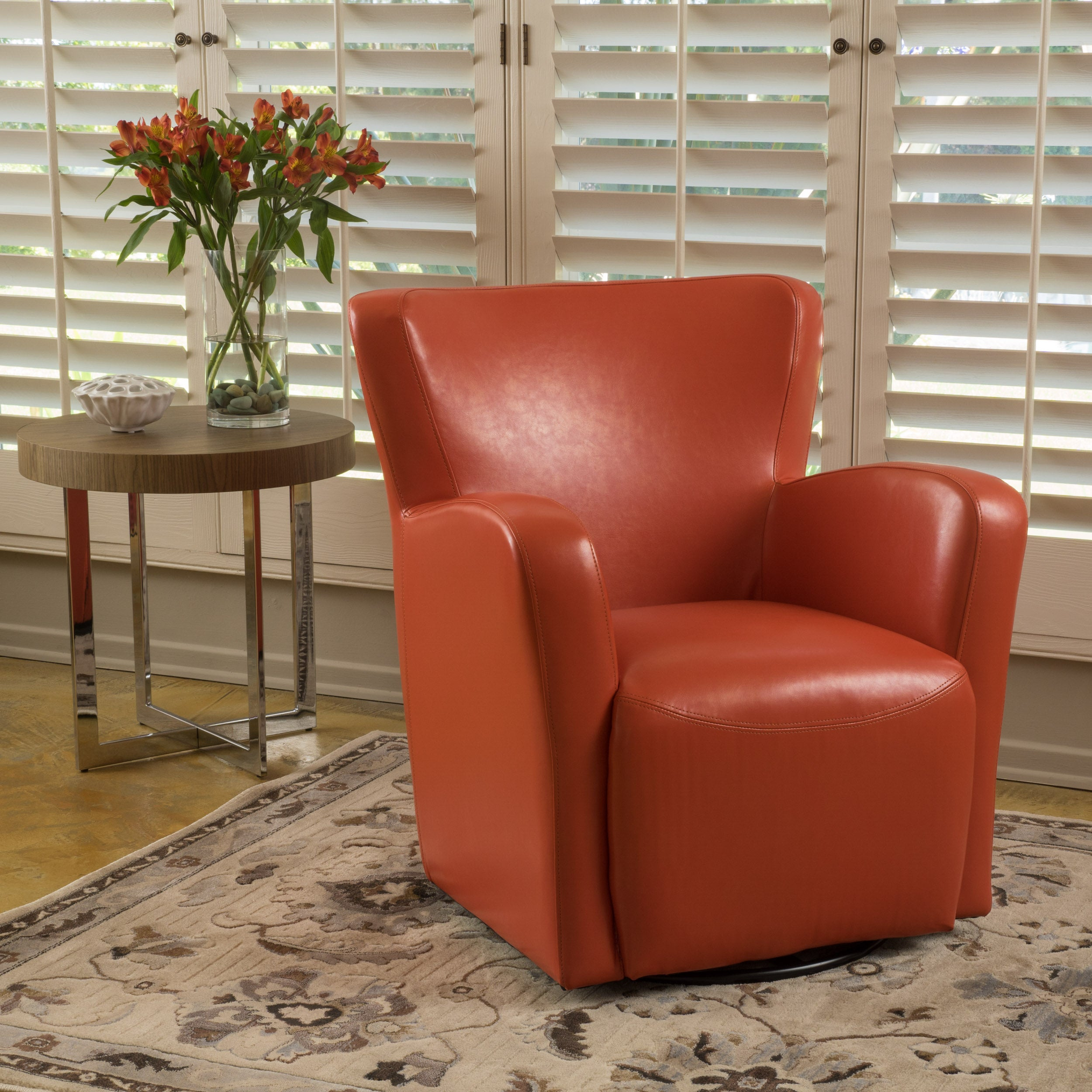 Almendro Bonded Leather Wingback Swivel Club Chair Brown