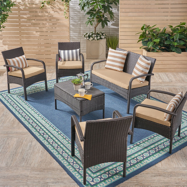 Mavis Patio Conversation Set, 6-Seater with Loveseat, Club Chairs, and Coffee Table, Brown Wicker with Tan Outdoor Cushions