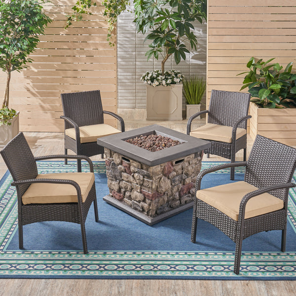 Mavis Patio Fire Pit Set, 4-Seater with Club Chairs, Wicker with Outdoor Cushions