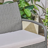 Great Deal Furniture Mavis Patio Conversation Set, 6-Seater with Loveseat, Club Chairs, and Coffee Table, Gray Wicker with Light Gray Outdoor Cushions