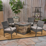 Meroy Patio Fire Pit Set, 4-Seater with Club Chairs, Wicker with Outdoor Cushions