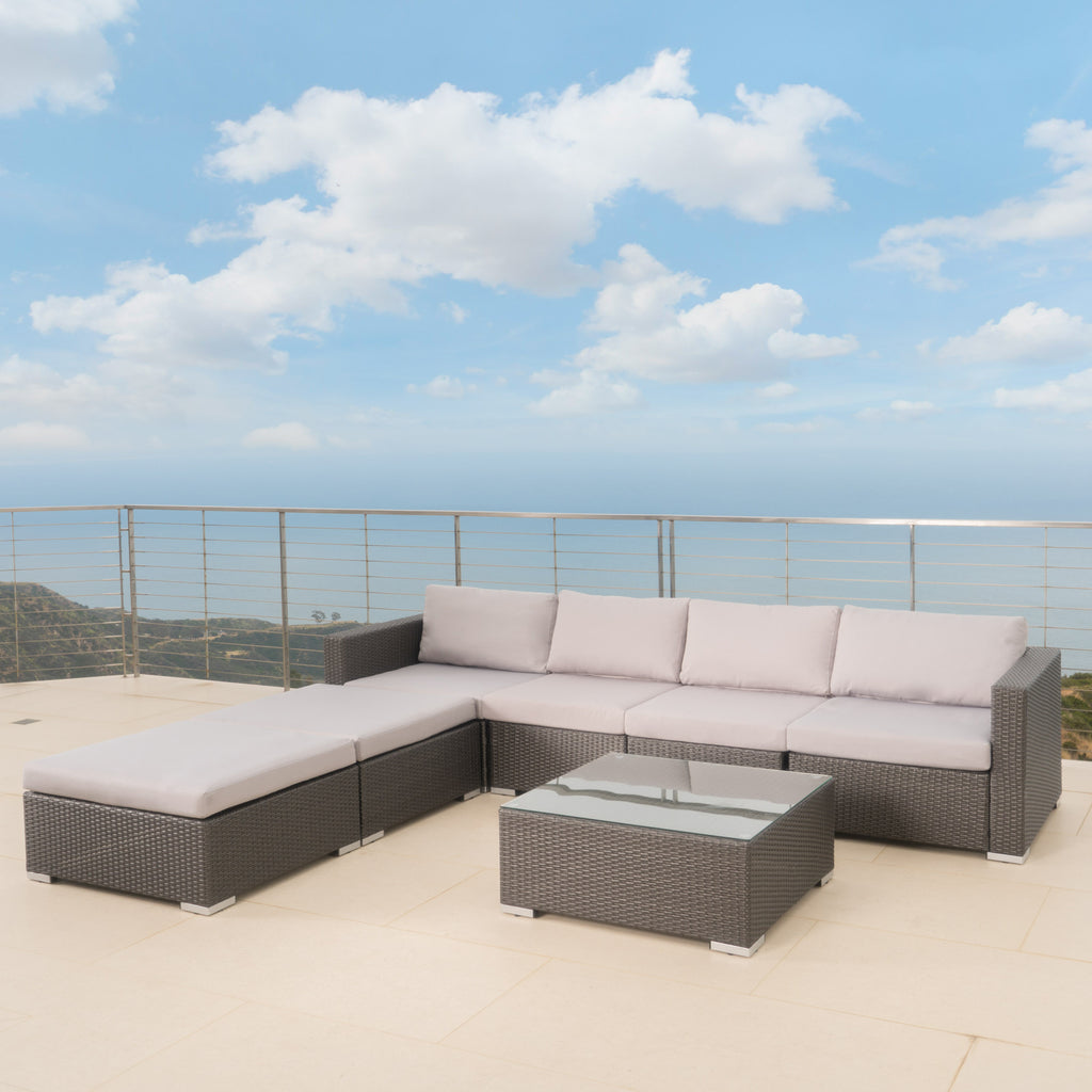 Francisco 7pc Outdoor Wicker Sectional w/ Cushions