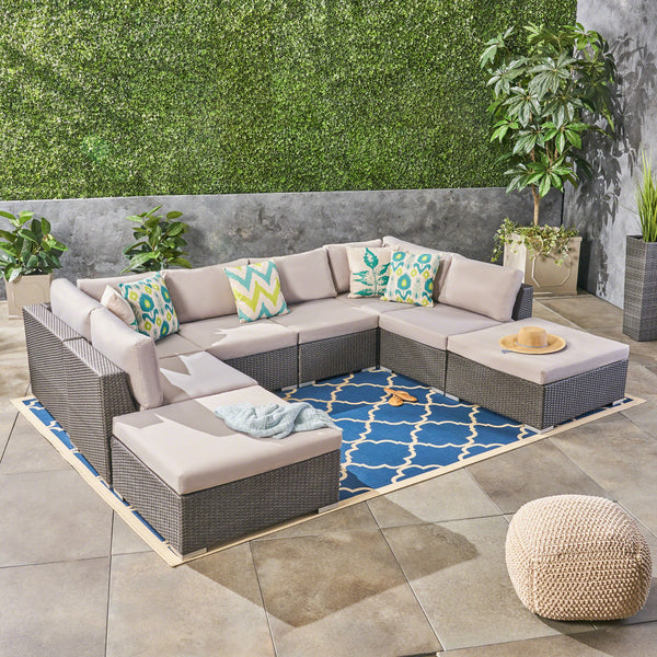 Salome Outdoor 6 Seater Wicker Sofa Set with Aluminum Frame and Cushions, Grey and Silver