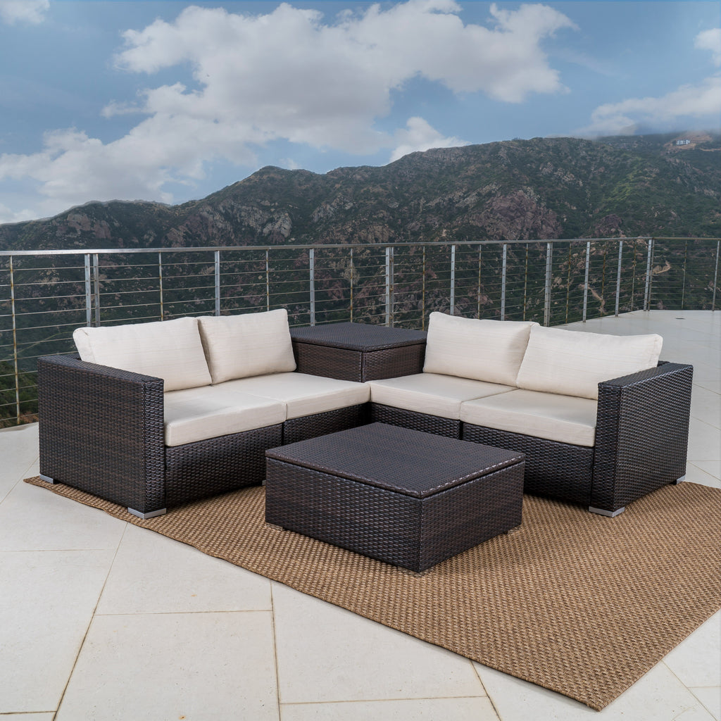 Francisco 6pc Outdoor Wicker Sectional Sofa w/ Storage