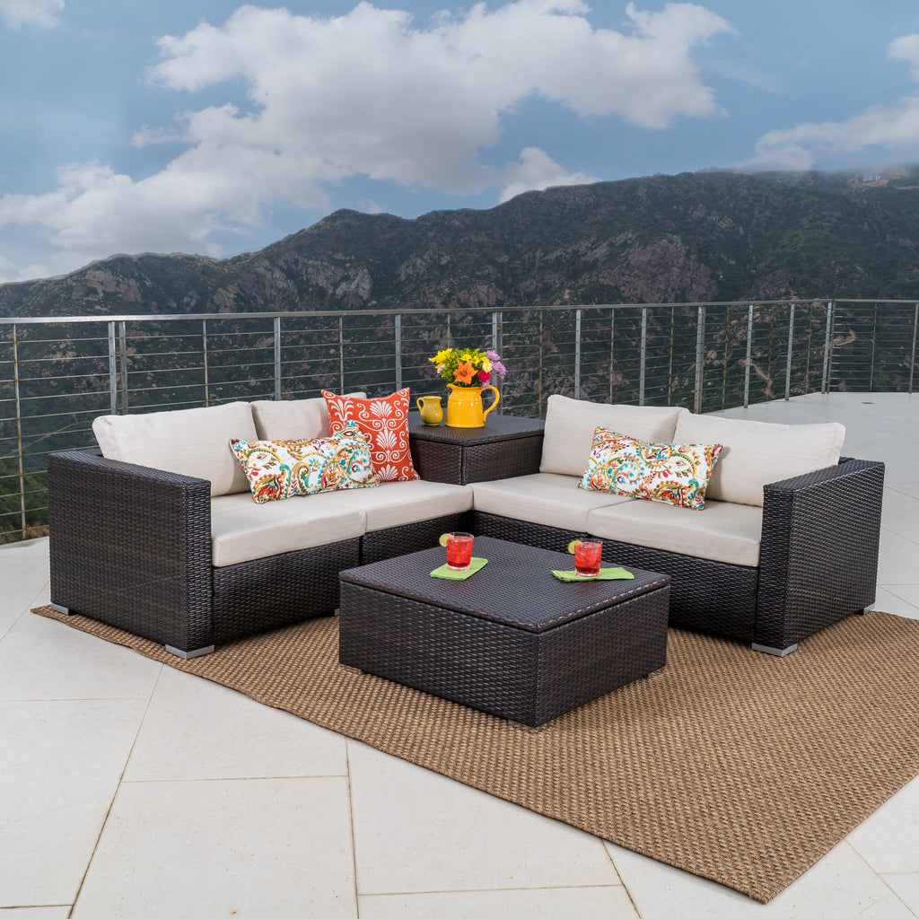 Francisco 6pc Outdoor Wicker Sectional Sofa W Storage Gdf Studio