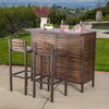 Isabel Dark Brown Acacia Wood & Rustic Metal Bar With 30-Inch Barstools