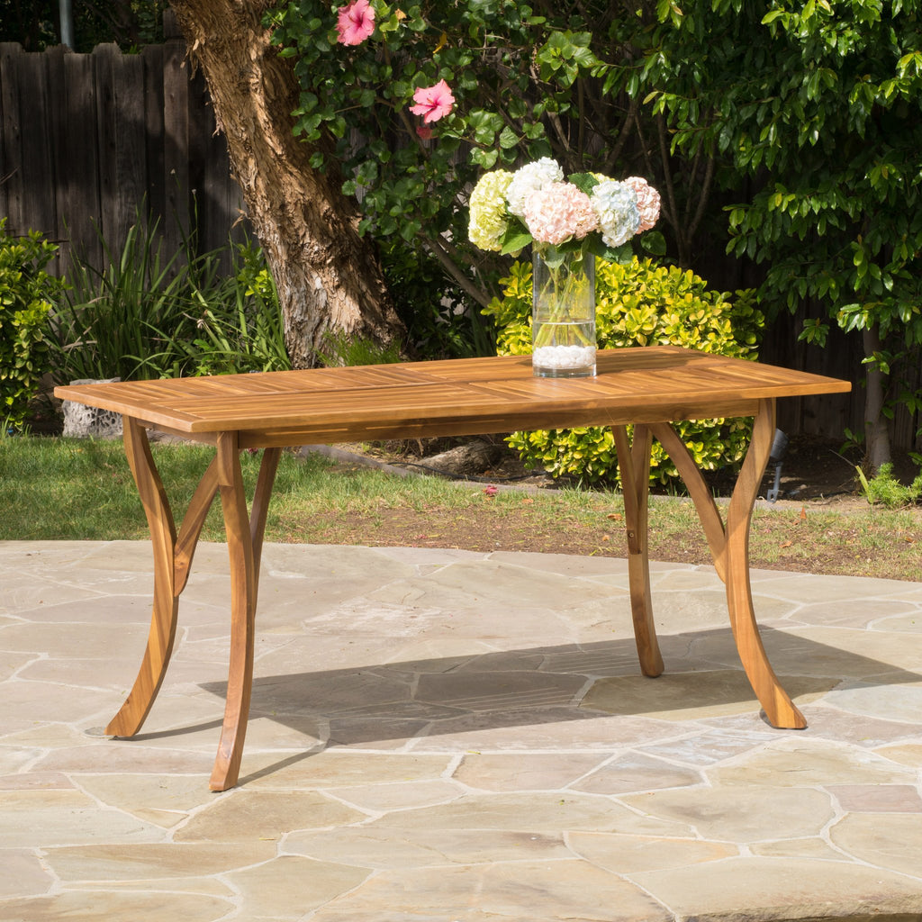 Hestia Teak Finish Acacia Wood Rectangular Dining Table