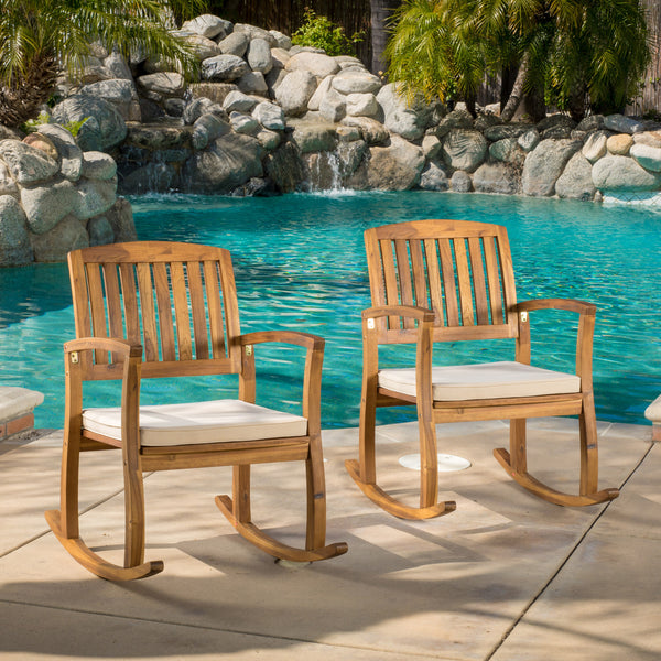 Sadie Outdoor Acacia Wood Rocking Chairs With Cushion Set