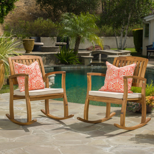 Sadie Outdoor Acacia Wood Rocking Chairs with Cushion (Set of 2)