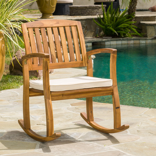 Sadie Outdoor Acacia Wood Rocking Chair With Cushion Gdf