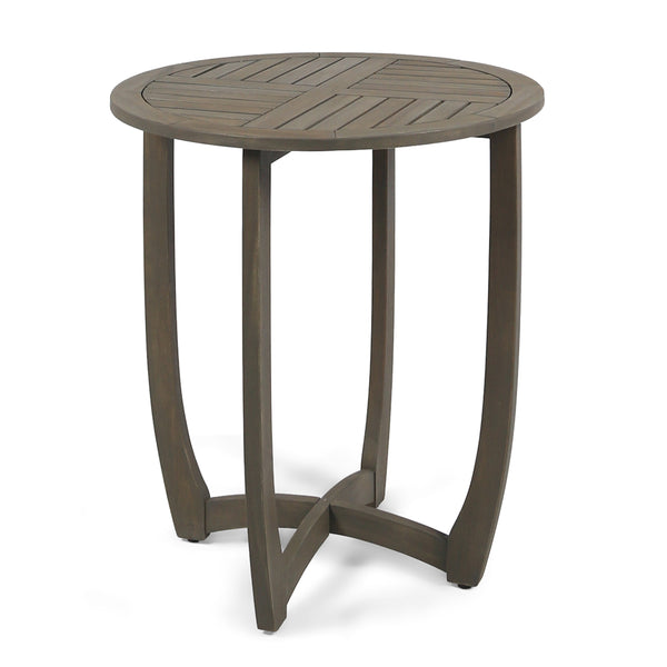 Andria Outdoor Acacia Wood Bistro Table, Gray