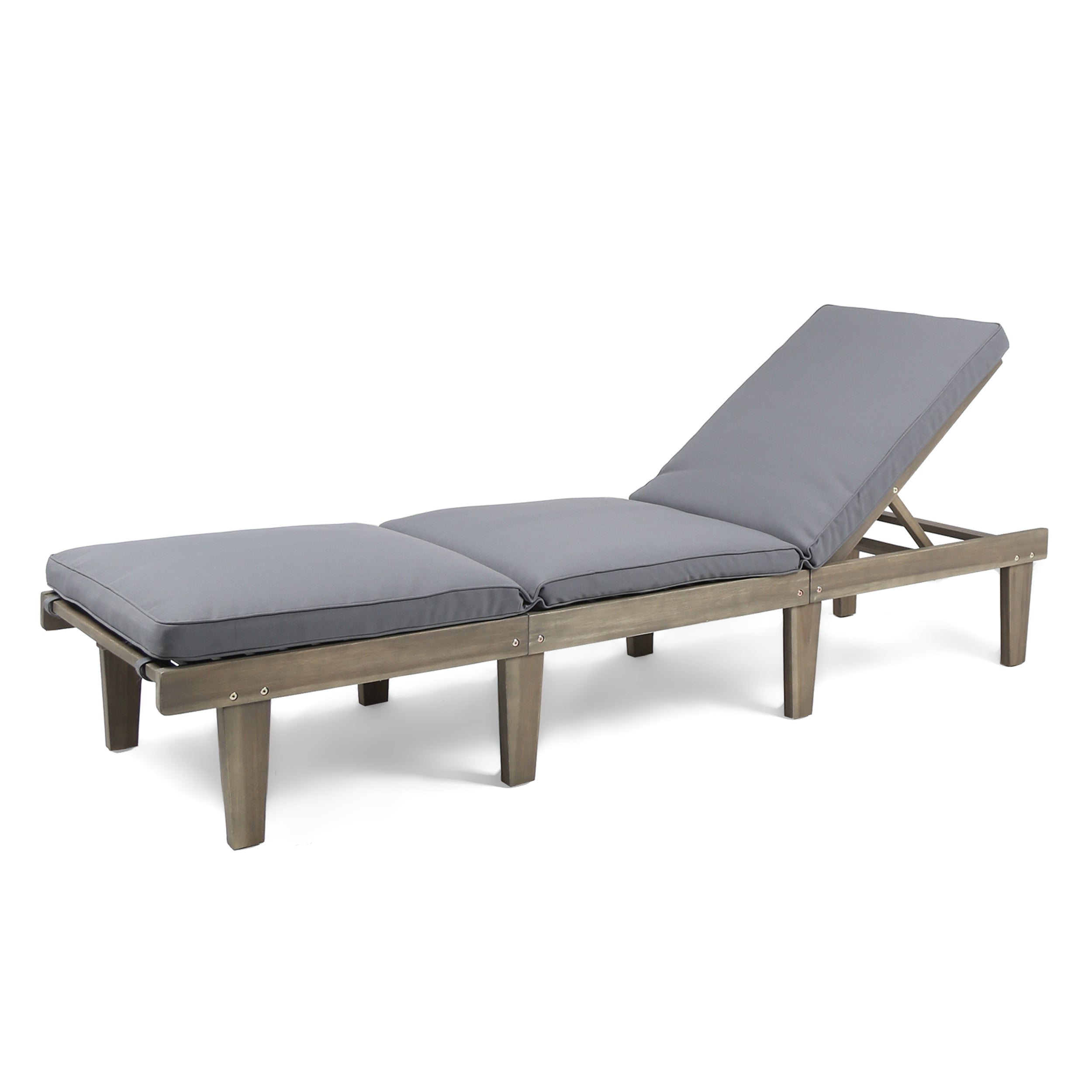 Alisa Outdoor Acacia Wood Chaise Lounge with Cushion Gray and Dark Gray