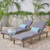 Alisa Outdoor Acacia Wood Chaise Lounge with Cushion, Gray and Dark Gray