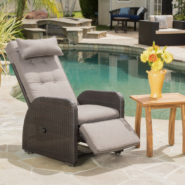 Odina Brown Outdoor Recliner with Cushion