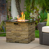 Heritage 32-inch Stone Square MGO Fire Pit - 40,000 BTU