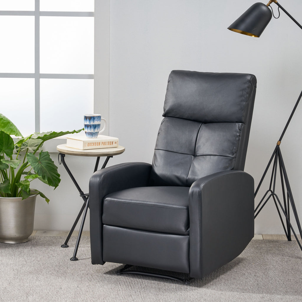 Teyana Contemporary Pillow Top Leather Recliner