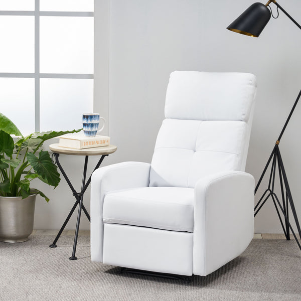 Contemporary Pillow Top White Bonded Leather Recliner With
