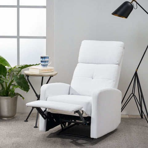 Contemporary Pillow Top White Bonded Leather Recliner with Lever Mechanism