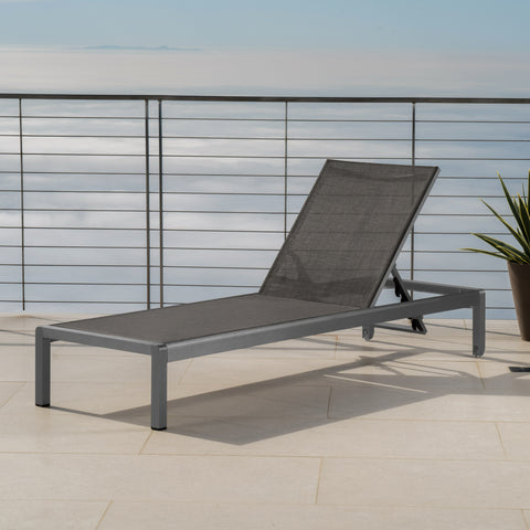 Crested Bay Outdoor Grey Aluminum Chaise Lounge with Dark Grey Mesh Seat