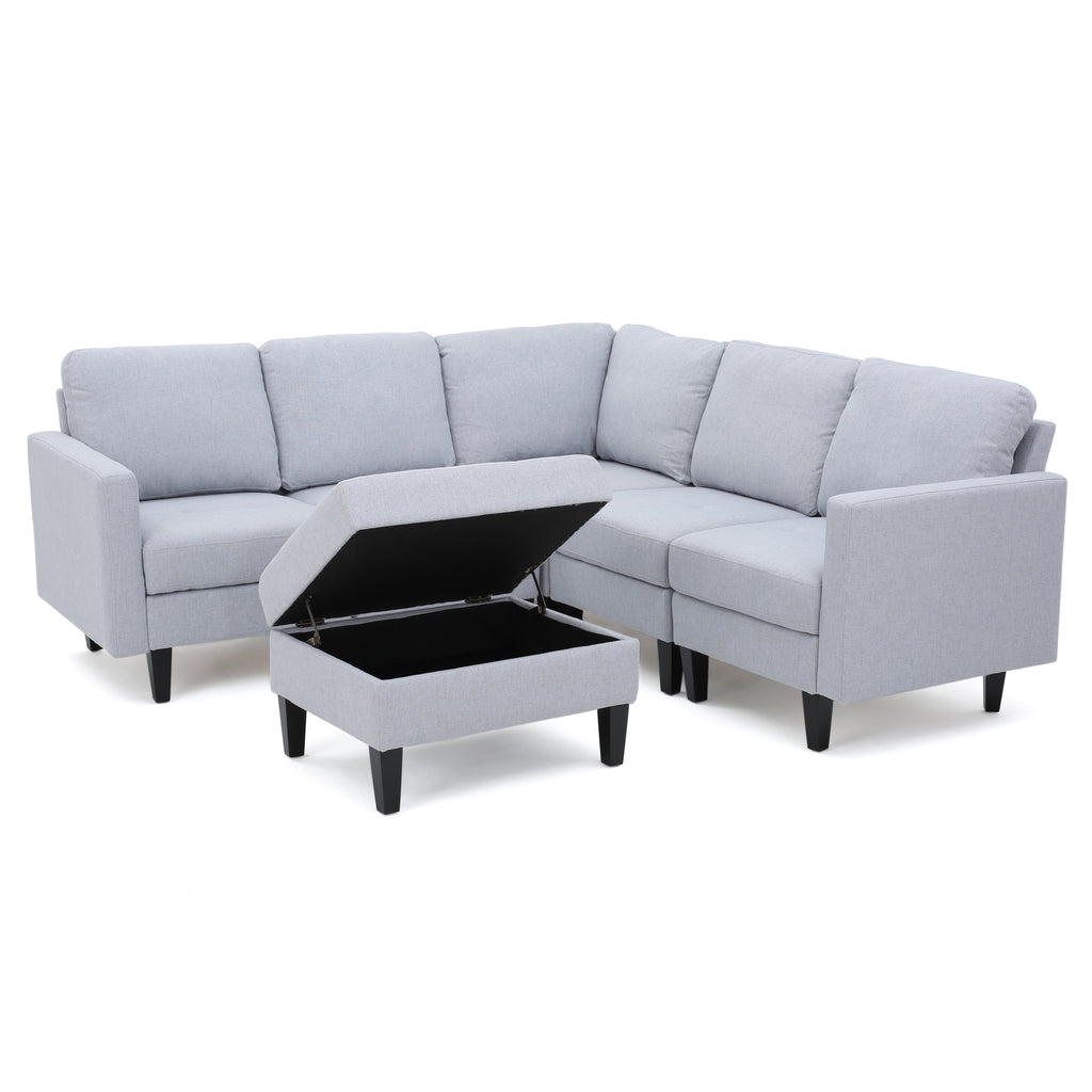 Bridger Fabric Sectional Couch with Storage Ottoman