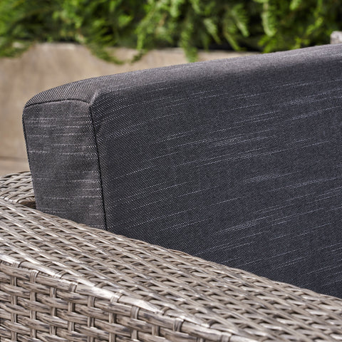 Buzz Outdoor 4 Seater Wicker L-Shaped Sectional Sofa Set with Cushions, Mixed Black with Dark Grey Cushions