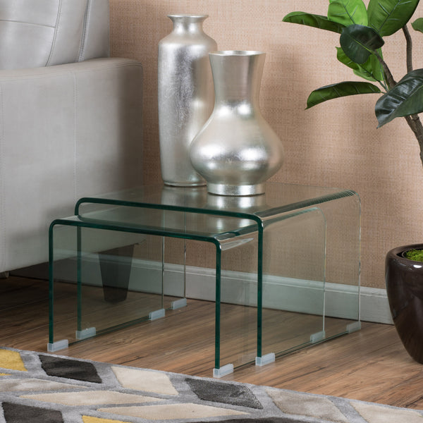 Angel Tempered Glass Nesting Tables Set Of Two (2)