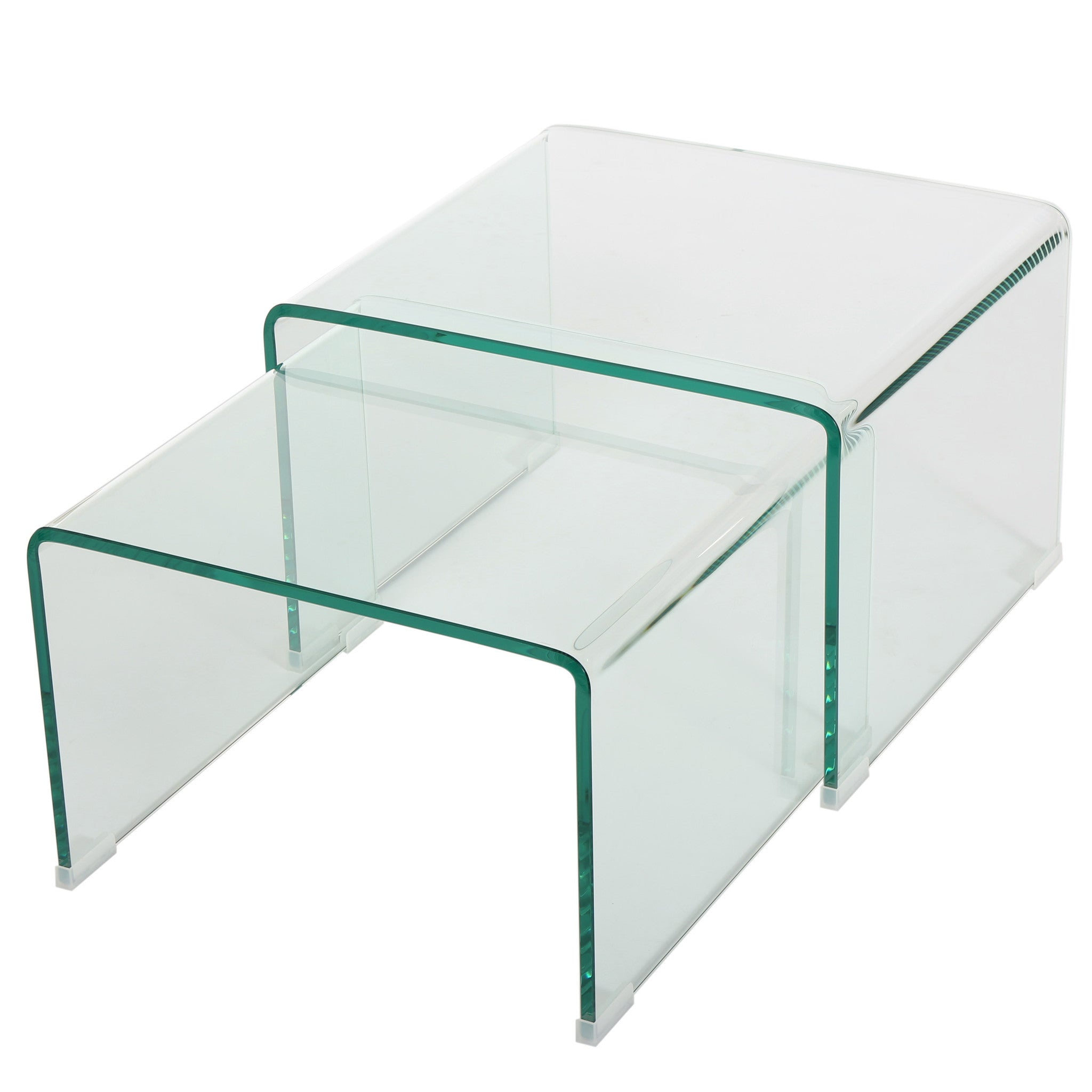 Angel See Through Clear Waterfall Glass Nesting Tables Set of 2
