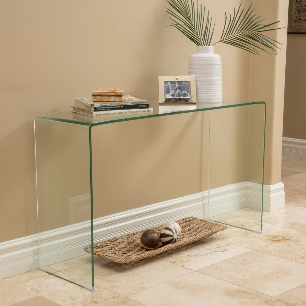 Modern Rectangular Clear 12mm Tempered Glass Console Table