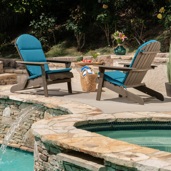 Amenda Outdoor Acacia Wood Adirondack Chairs with Cushions (Set of 2)