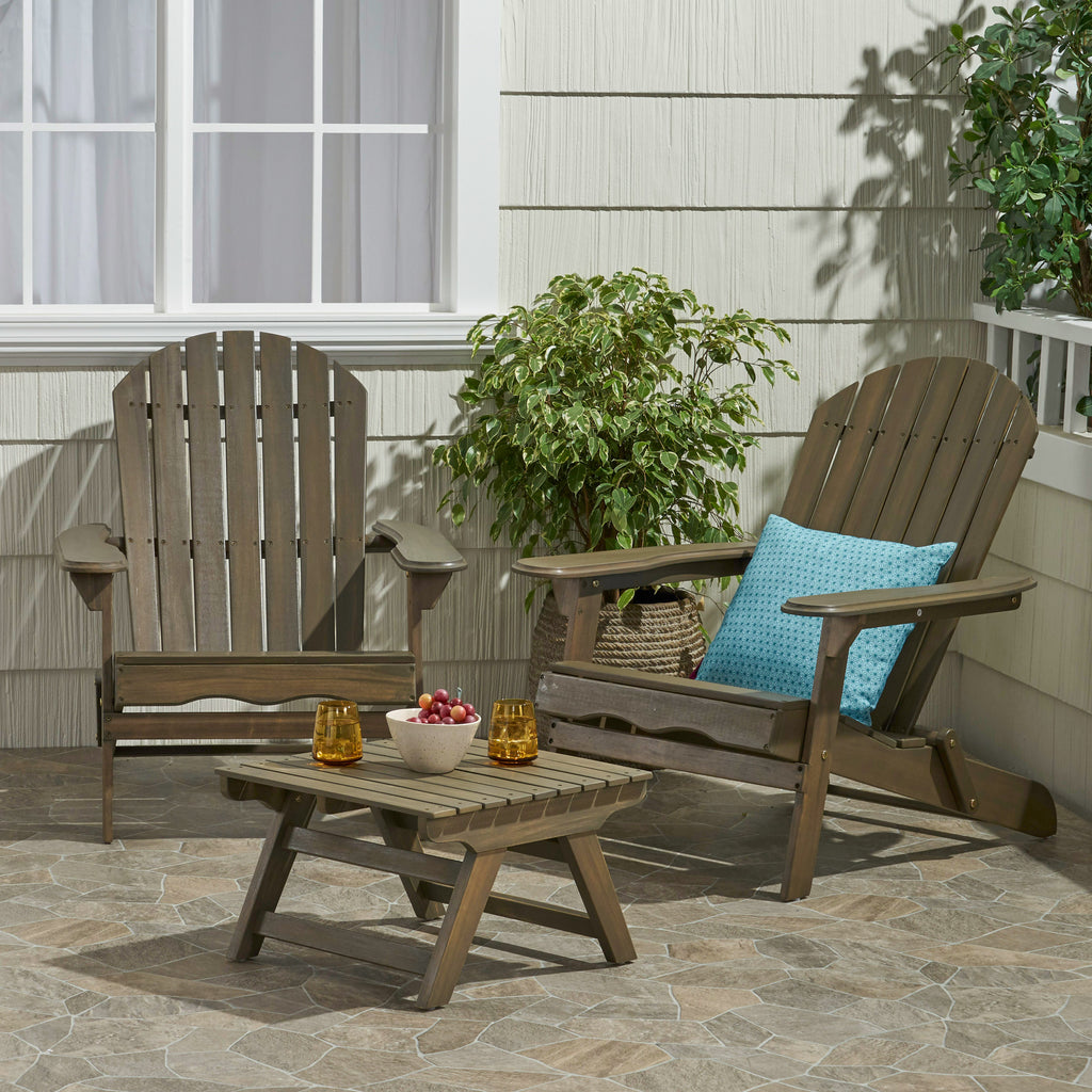 Magnolia Outdoor Acacia Wood 2 Seater Chat Set with Side Table