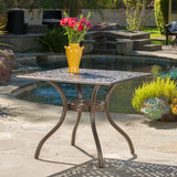 Monteria Traditional Outdoor Bronze Cast Aluminum Dining Table w/ Umbrella Hole