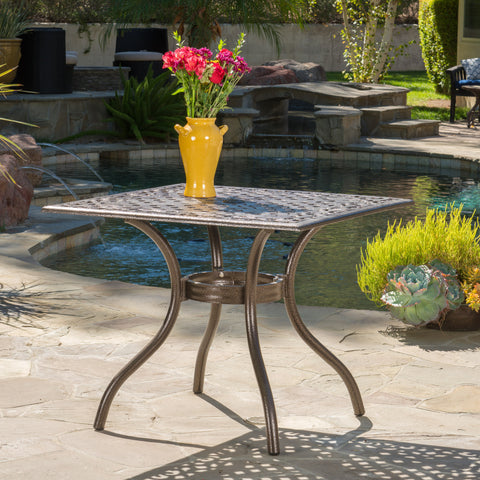 Monteria Bronze Cast Aluminum Square Table