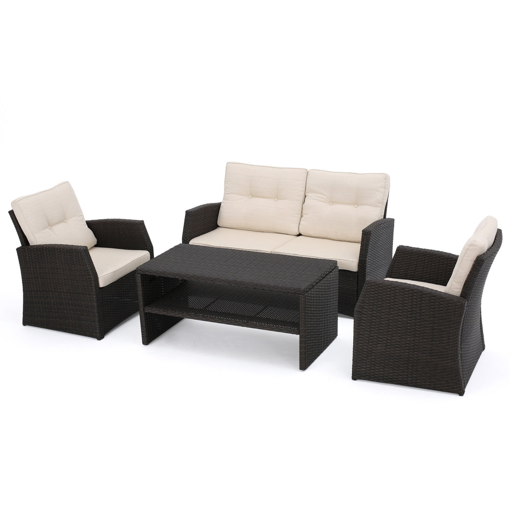 Del Norte Outdoor 4 Piece Dark Brown Wicker Chat Set with Beige Water Resistant Cushions