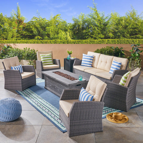 Jake Outdoor 7 Seater Wicker Chat Set with Wood Finished Fire Pit, Gray and Gray