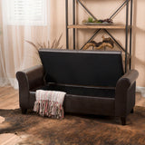 Danbury Contemporary Upholstered Storage Ottoman Bench with Rolled Arms