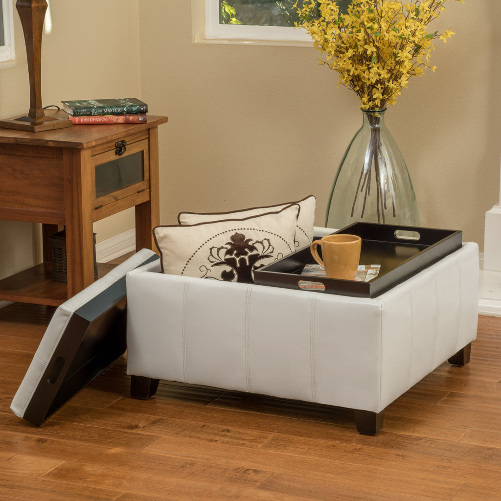 Justin 2-Tray-Top Storage Ottoman Coffee Table