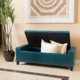 Robin Teal Leather Storage Ottoman Bench