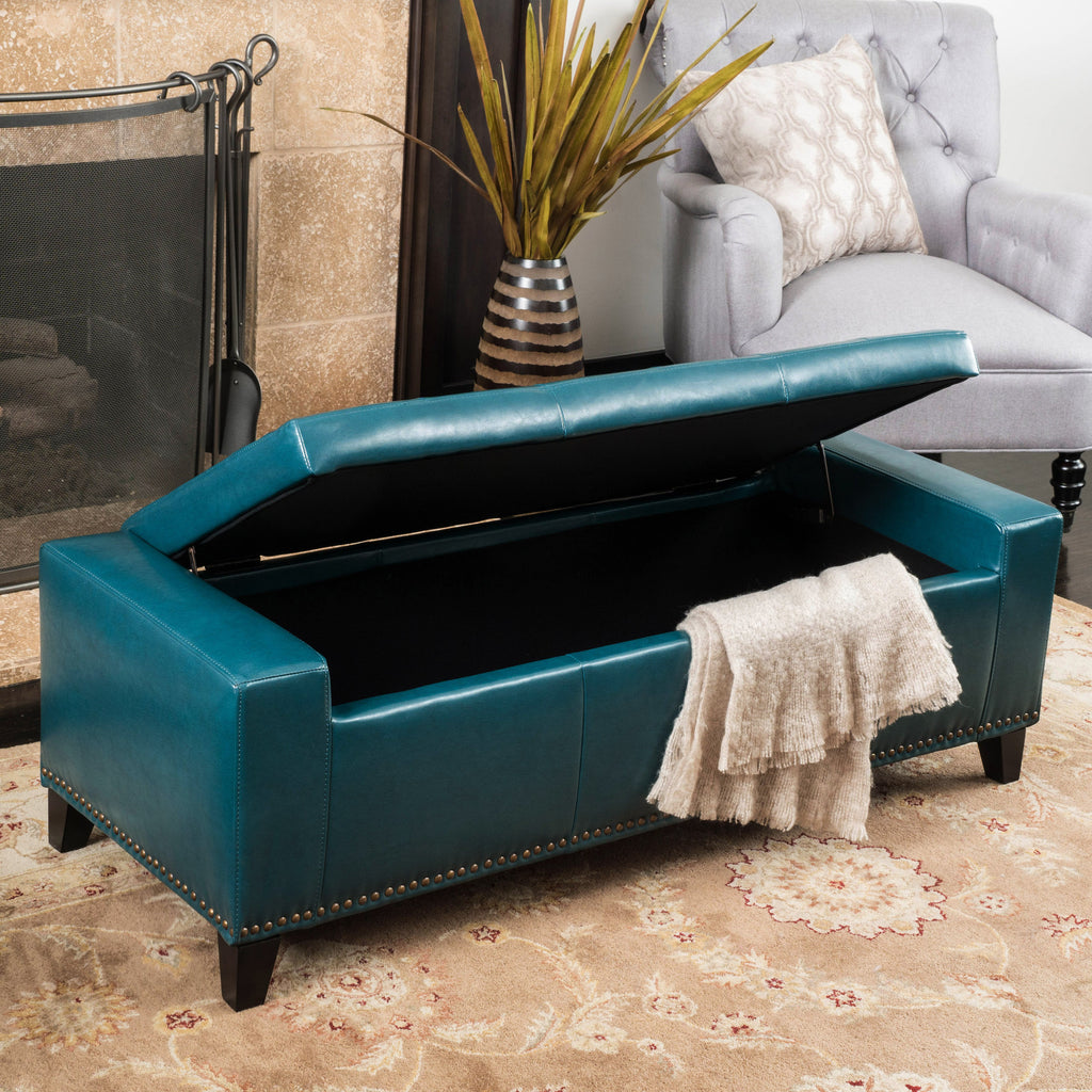 Robin Studded Teal Leather Storage Ottoman Bench