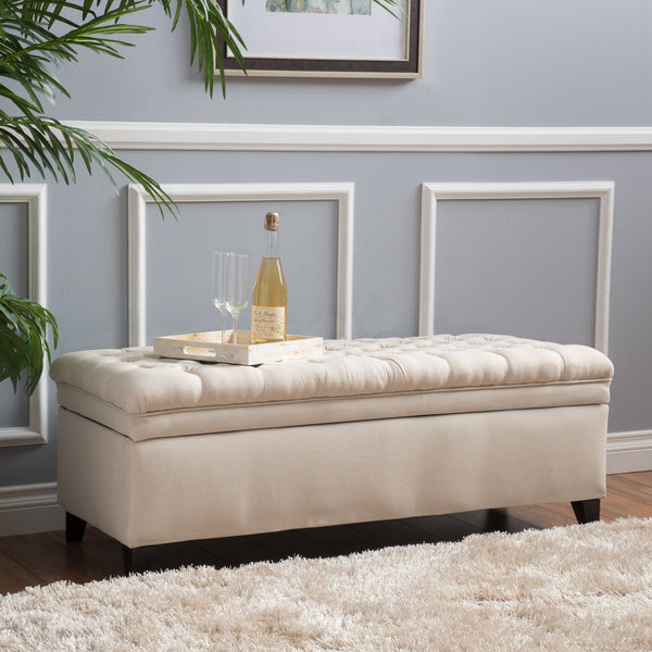 Sheffield Fabric Beige Tufted Storage Ottoman Gdf Studio