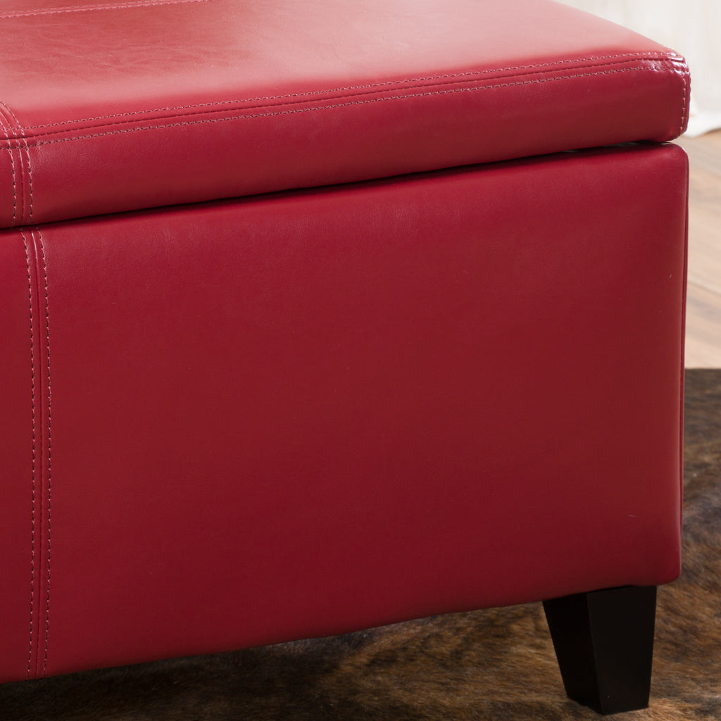 Skyler Rectangle Leather Storage Ottoman Bench