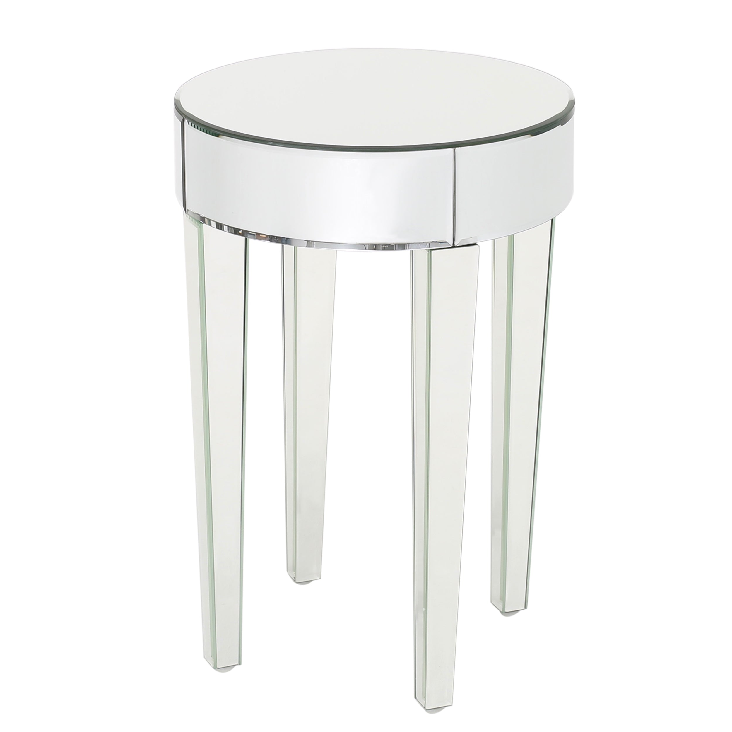 Alvo Modern Glam Round Mirrored Side Table with Tapered Legs Default Title
