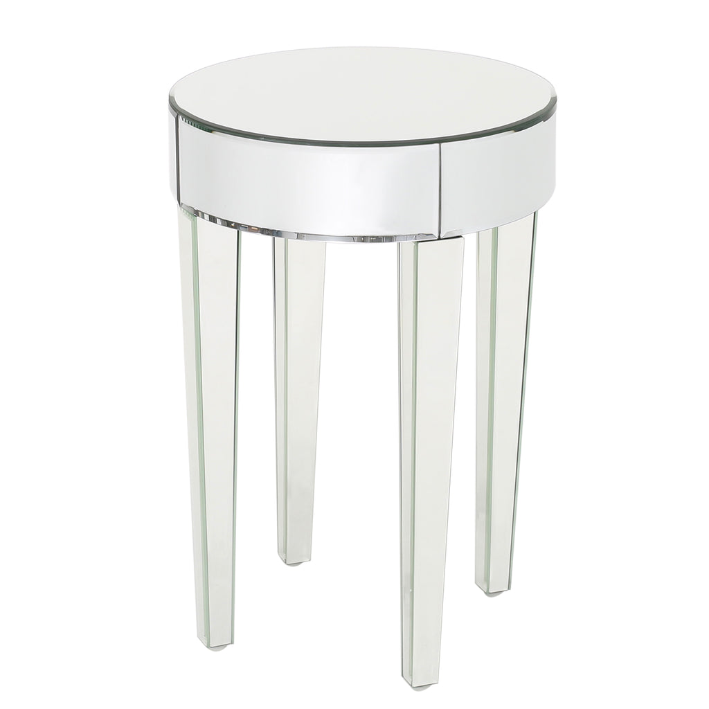 Alvo Modern Glam Round Mirrored Side Table With Tapered Legs Gdfstudio
