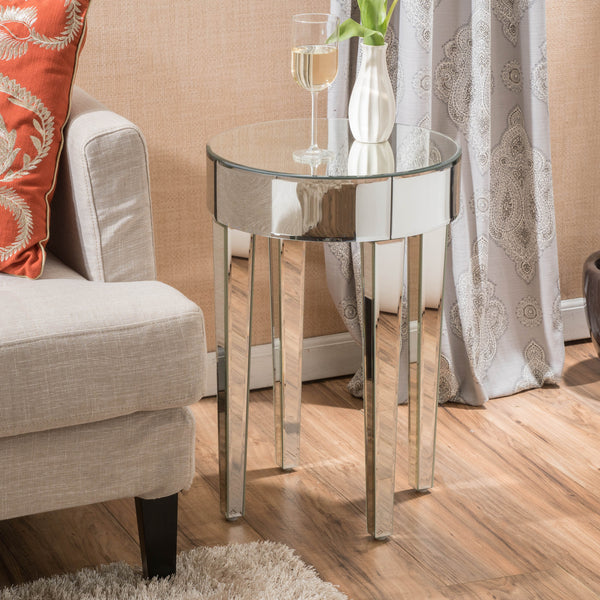 Alvo Modern Glam Round Mirrored Side Table with Tapered Legs