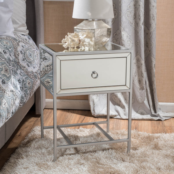 Athena Mirrored Silver 1 Drawer Side Table