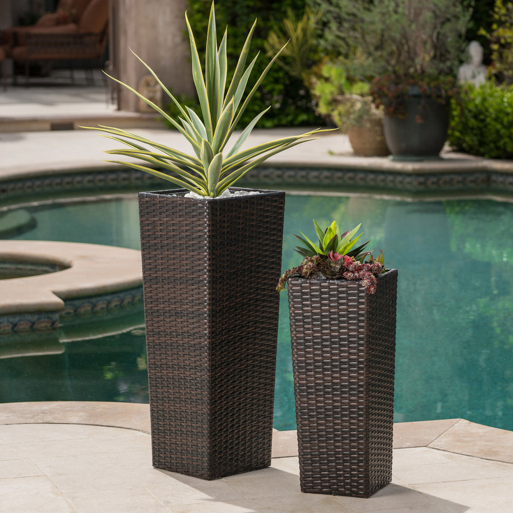 Eden Outdoor Wicker Flower Pots (Set of 2)
