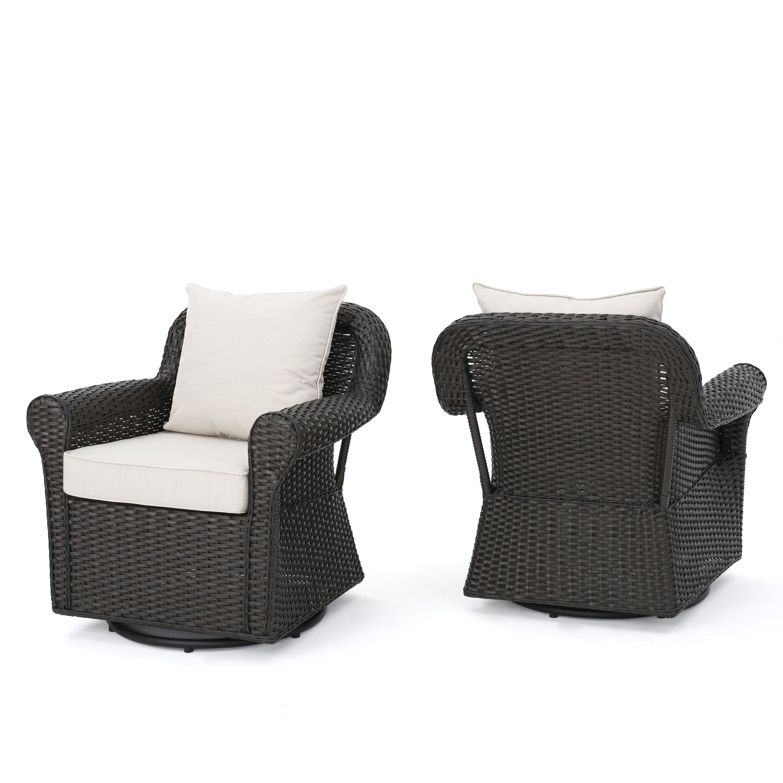 Admiral Outdoor Wicker Swivel Rocking Chair wWater Resistant Cushions