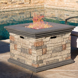 Augusta Outdoor 5 Piece Wicker Rocker and Gas Firepit Set