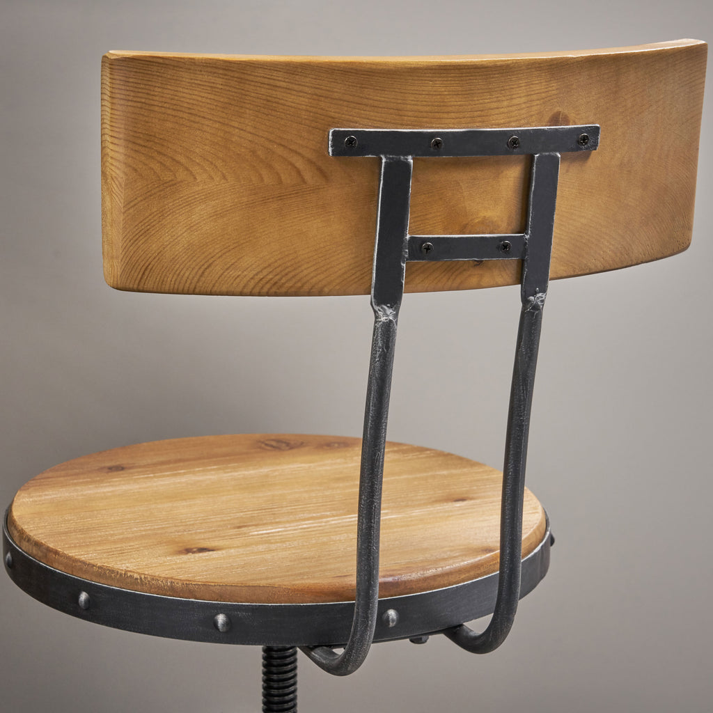 Hartley Naturally Antique Fir Wood Adjustable Barstool With Backrest