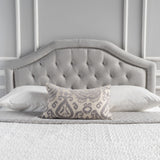 Hecha Tufted Light Gray Fabric Full/Queen Headboard with Nailhead Accents